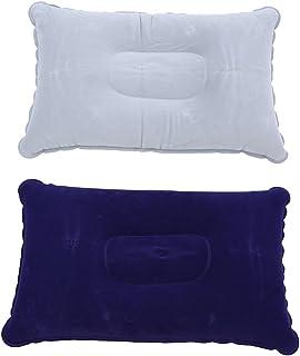 SzetOSY Lot de 2 oreillers gonflables pour le camping et le cou Bleu et gris 38 x 24,4 cm