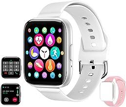 """ساعت هوشمند دریافت / برقراری تماس ، ردیاب تناسب اندام با مانیتور خواب ضربان قلب SpO2 مقاوم در برابر آب 1.54 """"Full Touch Life ، استپ / کالری ، تماس بلوتوث ساعت هوشمند برای زنان آقایان آندروید تلفن iOS (سفید)"""