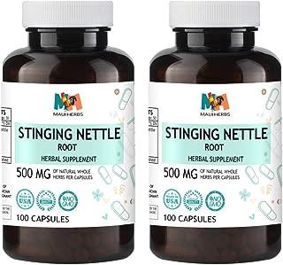 Stinging Nettle Root Capsules, 500 mg, Organic Stinging Nettle Root (Urtica Dioica) (2x100 Capsules)