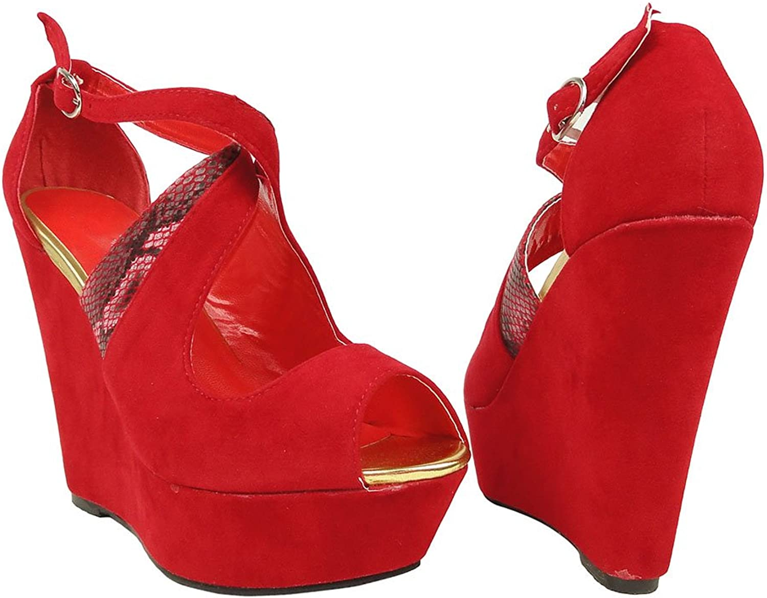 DS By KSC Womens Peep Toe Platform Strappy Snake Wedges Sandals Faux Suede Red