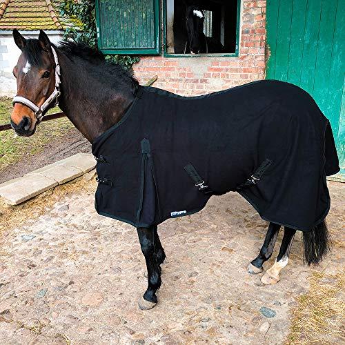 Abschwitzdecke mit Kreuzgurt für Pferde, Ponys – Atmungsaktive Pferdedecke aus Fleece – für schnelles Trocknen & Wärmen (Schwarz, 165 cm)