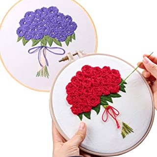 Lazeny 2x Embroidery Starter Kit with Flowers Pattern, Full Range of Stamped Embroidery Kits with Instructions, Bouquet Cr...