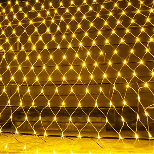 Light Sea String Lights Net Mesh Lights, 6.6ft x 9.8ft Warm White Curtain Fairy Lights with 8 Modes Controller for Holiday, Party, Outdoor Wall, Wedding Decorations (Warm White)