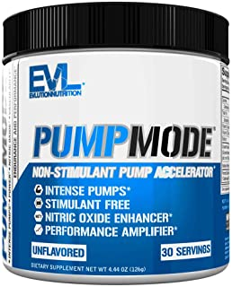 Evlution Nutrition Pump Mode Nitric Oxide Booster to Support Intense Pumps, Performance and Vascularity, 30 Servings (Unfl...