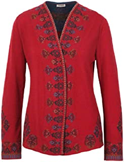IVKO Intarsia Pattern Cardigan in Cherry Red Knit Superfine Merino Wool Button Up Pullover Jacket Sweater