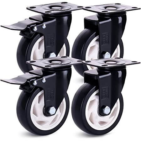 roues de remplacement pi/èces de quincaillerie roulettes pivotantes en caoutchouc avec freins argent roulettes en forme de U capacit/é de charge de 75 kg Roulettes de 38 mm lot de 4