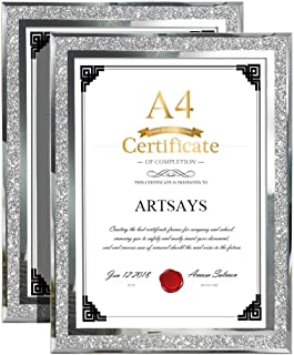 Artsay A4 Picture Frames Certificate Document Holder for Tabletop, Glass Photo Frame, 2 Pack
