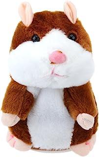 TOYMYTOY Juguete hámster de hablando Repite lo Que Dices Hamster Interactivo Peluche Habla juguete para regalo de niños, pilas no incluidas (Marrón claro)