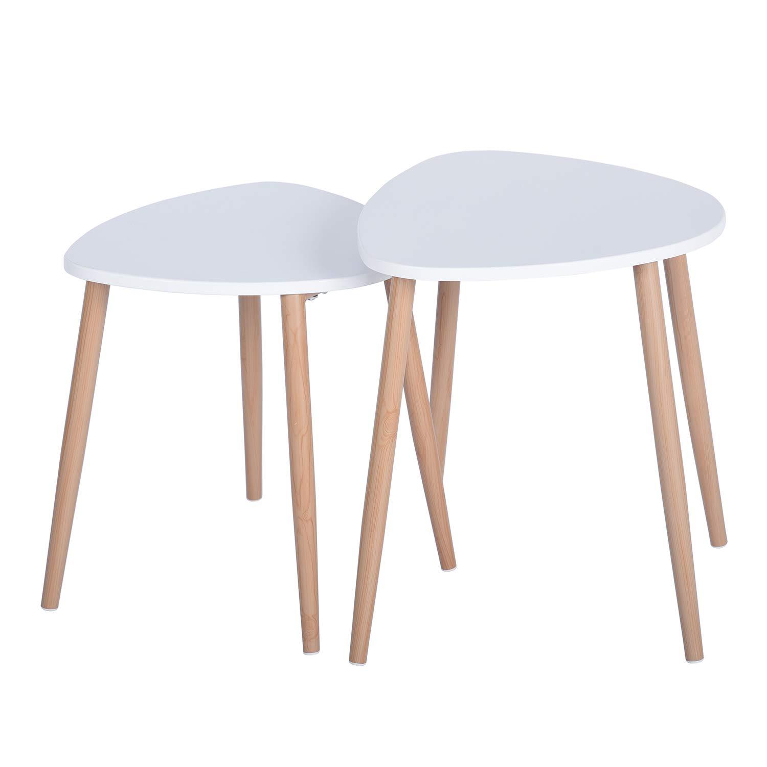 2 Piece Nesting Tables Coffee Tables Round Triangle Side Tables Modern End Tables Occasional Tea Tables Nesting Tables For Balcony And Living Room Set Of 2 White Round Legs Buy Online In