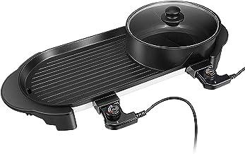 Elektronische Grillplaat Elektrische Tafelgrill Teppanyaki/braadpan voor binnen, onafhankelijke pot met dubbele temperatuu...
