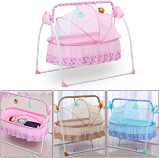 RanBB Electric Baby Cradle, Auto-Swing Bed Big Space Crib Cots Cradle Infant Rocker Cradle with MP3 Music (Pink)