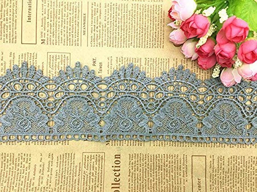 9CM Width Europe Crown Pattern Inelastic Embroidery Lace Trim,Curtain Tablecloth Slipcover Bridal DIY Clothing/Accessories.(2 Yards in one Package) (Gray)