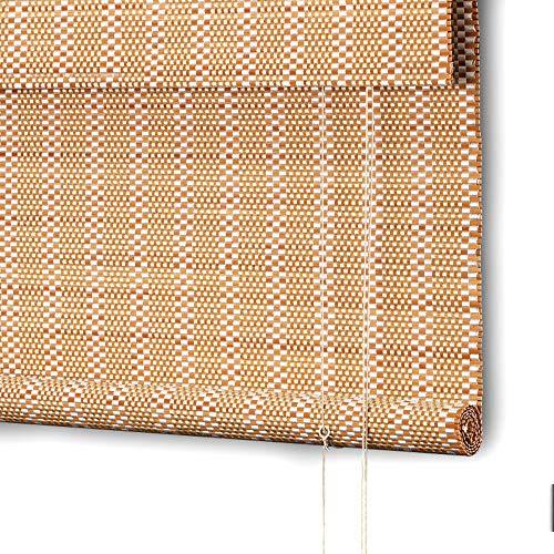 Persianas enrollables hervidas Persianas enrollables de Cortina Plana Persianas enrollables de bambú Cortinas Romanas Persianas de bambú teñido Jade