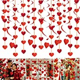 SHYOSUCCE 30Pcs Wedding Decorations Hanging Red Heart Swirls and Heart Garland Decorations for Wedding Birthday Valentines Home Ceiling Party Decorations