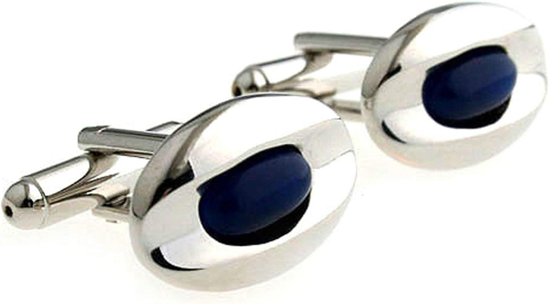 Daesar Cufflinks and Studs Wedding Mens Cufflinks Set Oval Blue Cufflink Shirt