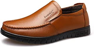 CHENDX Shoes Slip On Style Oxford Shoes for Men Formal Shoes Genuine Leather Simple Solid Colors Round Toe Low Top Lustrous Surface (Color : Brown, Size : 43 EU)