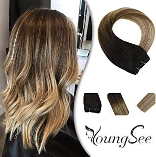 YoungSee 20inch Hair Weave Hair Wefts Sew in Hair Extensions Remy Human Hair Bundles Balayage Darkest Brown Fading to Medium Brown with Blonde 100G