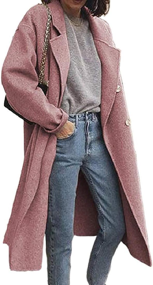 JiaZext Women's Woolen Winter Lapel Overcoat Coat Double-Breasted Pea Coat