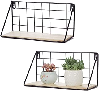 YiTai Online Floating Shelves Wall Mounted Rustic Metal Wire Storage Shelves for Picture Frames, Collectibles, Decorative Items, Great for Living Room, Bedroom, Office, Bathroom, Kitchen, Set of 2