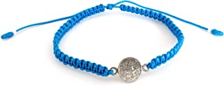 Lucky Charms USA St Benedict Goldtone Medal String Macrame Bracelet, Assorted Colors