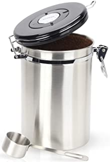 Gorgeous Coffee Canister - Stainless Steel Storage Container with Scoop - Keeps Your Coffee Airtight Fresh and Flavorful
