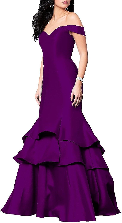 Irenwedding Women's Off Shoulder Layered Satin New Pleats Plus Szie Prom Dress Evening Gown