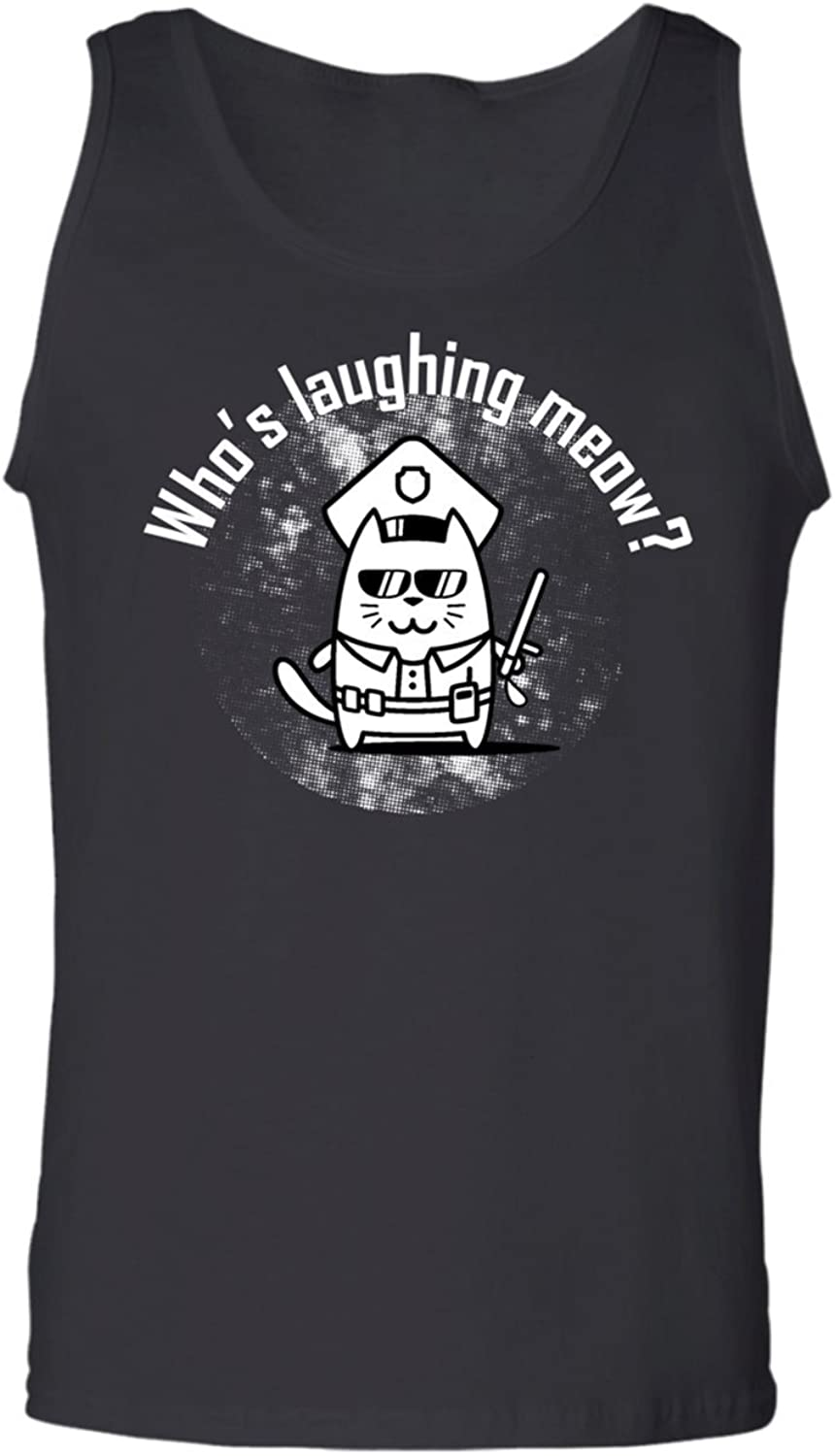 Teechopchop Who's Laughing Meow,Funny Police Cat, Pet Tank Top