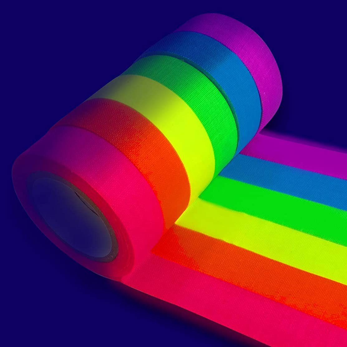 Neon Tape UV Blacklight Glow Reactive Fluorescent Cloth Gaffer Tape Matte Finish Party Decorate for Halloween School Activities (0.59inch Wide x 16.4ft Long/Roll) Six Rolls/Pack
