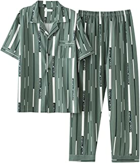 Gbrand Men's Pajama Set Spring Summer Comfortable Men Sleepwear Short Sleeve Cotton Pajamas Men Elastic Waist Pant Leisure...