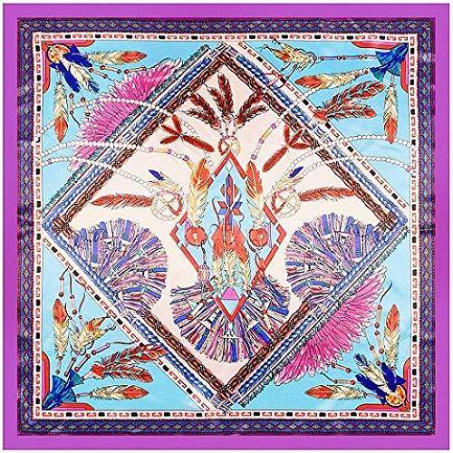 ERQINGWJ Quadratischer Schal Frauen Quadrat Schals Indische Berühmte Feder Seidenschal & Wraps Hijab Bandana 90 cm X 90 cm