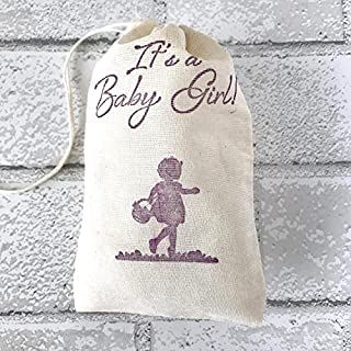 10 Its a Baby Girl Favor Bags Baby Shower Party Bags Candy Goodie Bags Welcome Baby Muslin Bag Gift Bag Jewelry Soap Bag