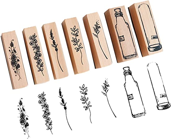 Painting Teaching and Card Making Scrapbook 16 Pieces Wooden Rubber Stamp Plant and Flower Decorative Vintage Mounted Rubber Stamp Set Vintage Wooden Stamps for DIY Craft Letters Diary