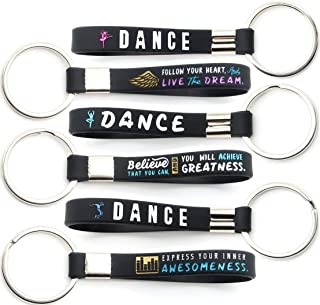 (12-pack) Dance Keychains with Motivational Quotes - Wholesale Key Chains for Bulk Dance Gifts, Ballet Party Favors and Award Prizes for Dancers and Ballerinas, Dance Moms, Teachers and Choreographers