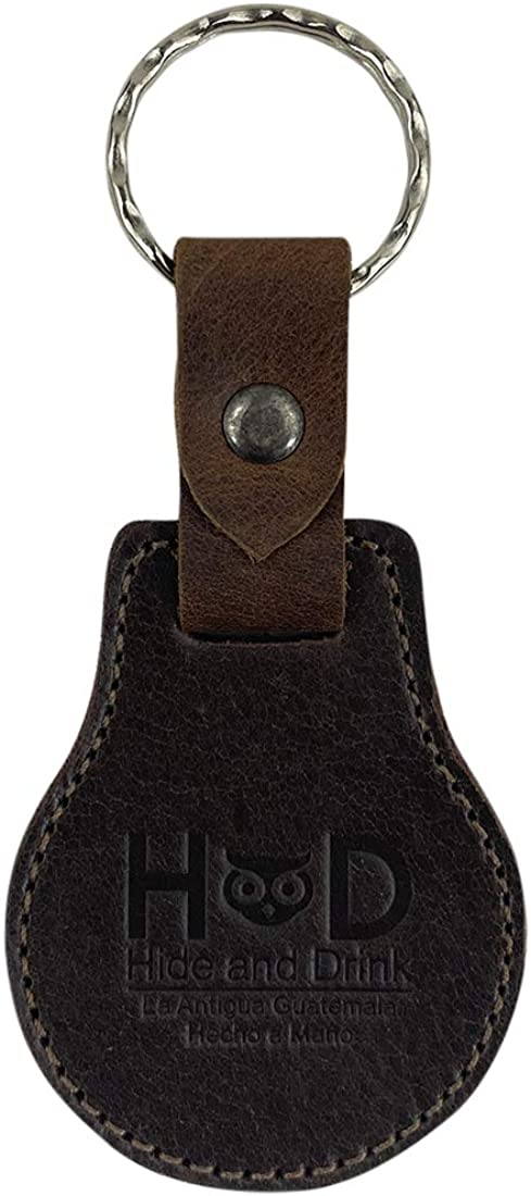Hide & Drink, Classic Logo Keychain Handmade from Full Grain Leather - Cute, Trendy, Stylish, Accessory - Keyring for Easy Attachment to House, Car, Office Keys - Makes a Great Gift - Bourbon Brown