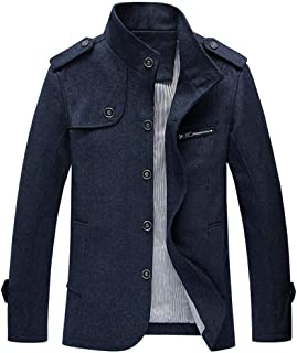 for Coat.AIMTOPPY Fashion Men's Autumn Winter Casual Pocket Button Thermal Leather Jacket Coat