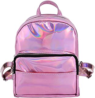 cc-us Women Girls Holographic Backpack Schoolbag Rainbow Shoulder Bag Satchel
