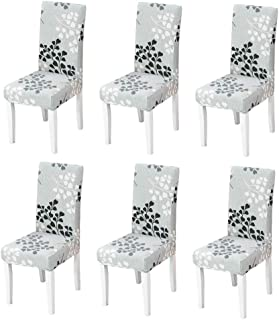 Eage Dining Chair Covers 6 Pack, Super Fit Stretch Removable Washable Spandex Fabric Protector Cover Seat Slipcover for Ho...