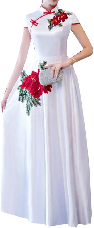 SportsX Women Slim Casual Embroidered Stand Collar Long Dress Cheongsam