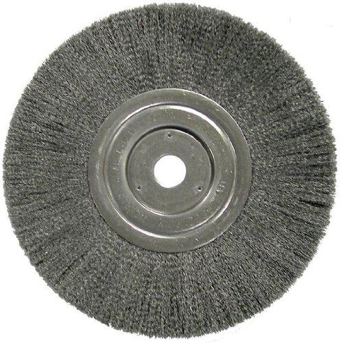Weiler Steel Wheel Brush - 0.014 in Bristle Dia Arbor Attachment - 8 in OD & 6000 Max RPM - 1 1/2 in Center Hole Size - 01179 [PRICE is per WHEEL]