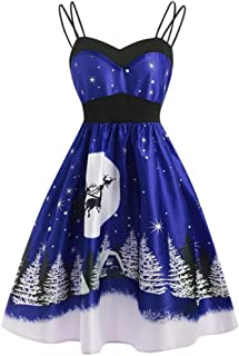 Women Stylish Retro Christmas Snowflake Christmas Tree Printed Sleeveless High Waist Cami Dress