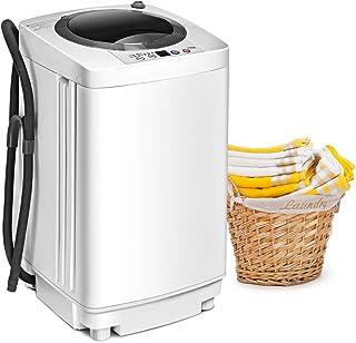 GOPLUS Mini Machine à Laver à Godet Unique, Puissance de 240W, Lave-linge avec Panneau de Commande Multifonction, Capacité...