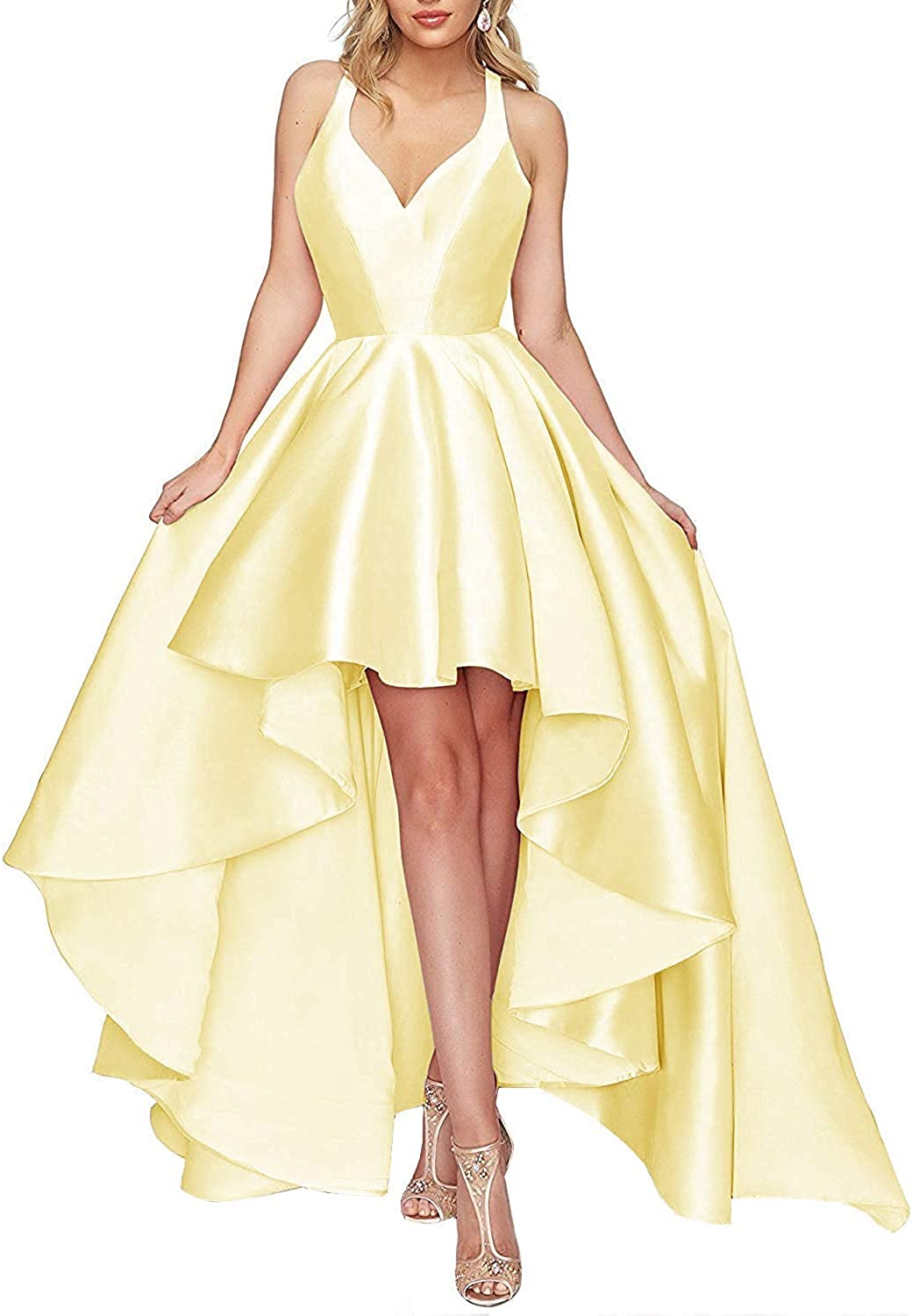 JAEDEN Prom Dress with Pocket High Low Formal Evening Gowns Hater Prom Gowns Satin Prom Dresses