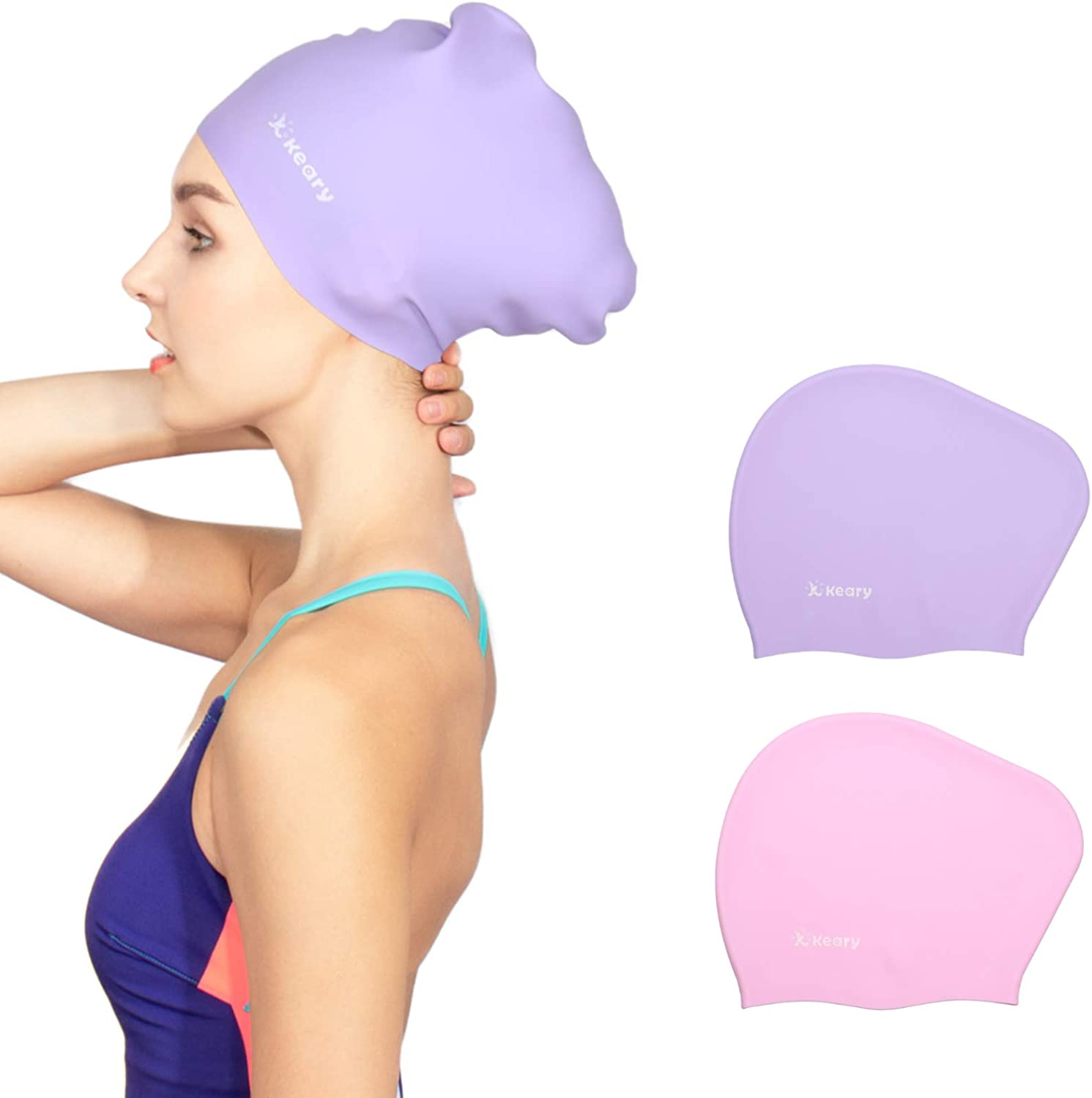 Keary 2 Pack Silicone Swim Cap for Long Hair Women Girls Waterproof Pool Swimming Cap Cover Ears to Keep Your Hair Dry, 3D Ergonomic Stretchable Durable and Anti-Slip, Easy to Put On and Off : Sports & Outdoors