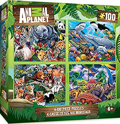 MasterPieces 4-Pack Kids 100 Puzzles Collection - Animal Planet 4-Pack 100 Piece Jigsaw Puzzle from Masterpieces Puzzle Co.
