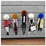 KAERMA 5 broches de moda para mujer, broches de dibujos animados, broches acrílicos, pompón, accesorios decorativos (tamaño: set 3)