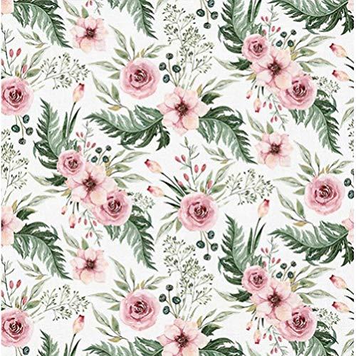 Pure Erstklassiger Baumwollstoff 0,5lfm, 100% Baumwolle, modische Muster, Breite 160cm – Blumen im Garten - weißer Hintergrund