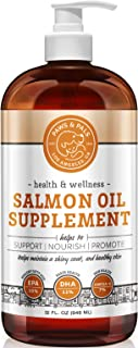 Fish Oil for Dogs & Cats - 100% Pure Wild Alaskan Salmon Omega 3 Supplement - Best for Pet Skin Coat Shedding w/ EPA + DHA Supporting Health Care Joint Function, Immune & Heart - Liquid or Chew Bite