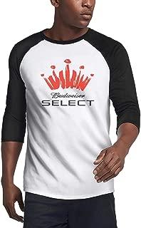 3/4 Sleeve Plain Raglan Baseball Budweiser-Logos- Teeshirt Raglan Jersey T Shirts for Mens'