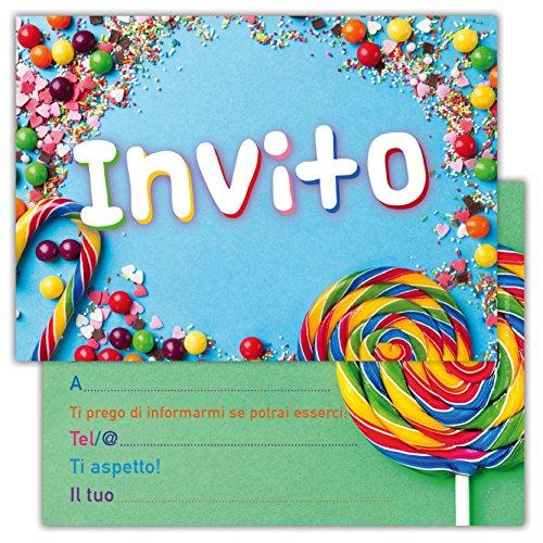 Partycards Set mit 12 Einladungskarten zum Geburtstag für Kinder und Erwachsene in italienischer Sprache – Sweets Lecca
