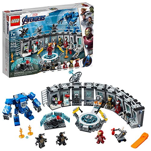 LEGO Marvel Avengers Iron Man Hall of Armor 76125 Building Kit Marvel Tony Stark Iron Man Suit Action Figures (524 Pieces)